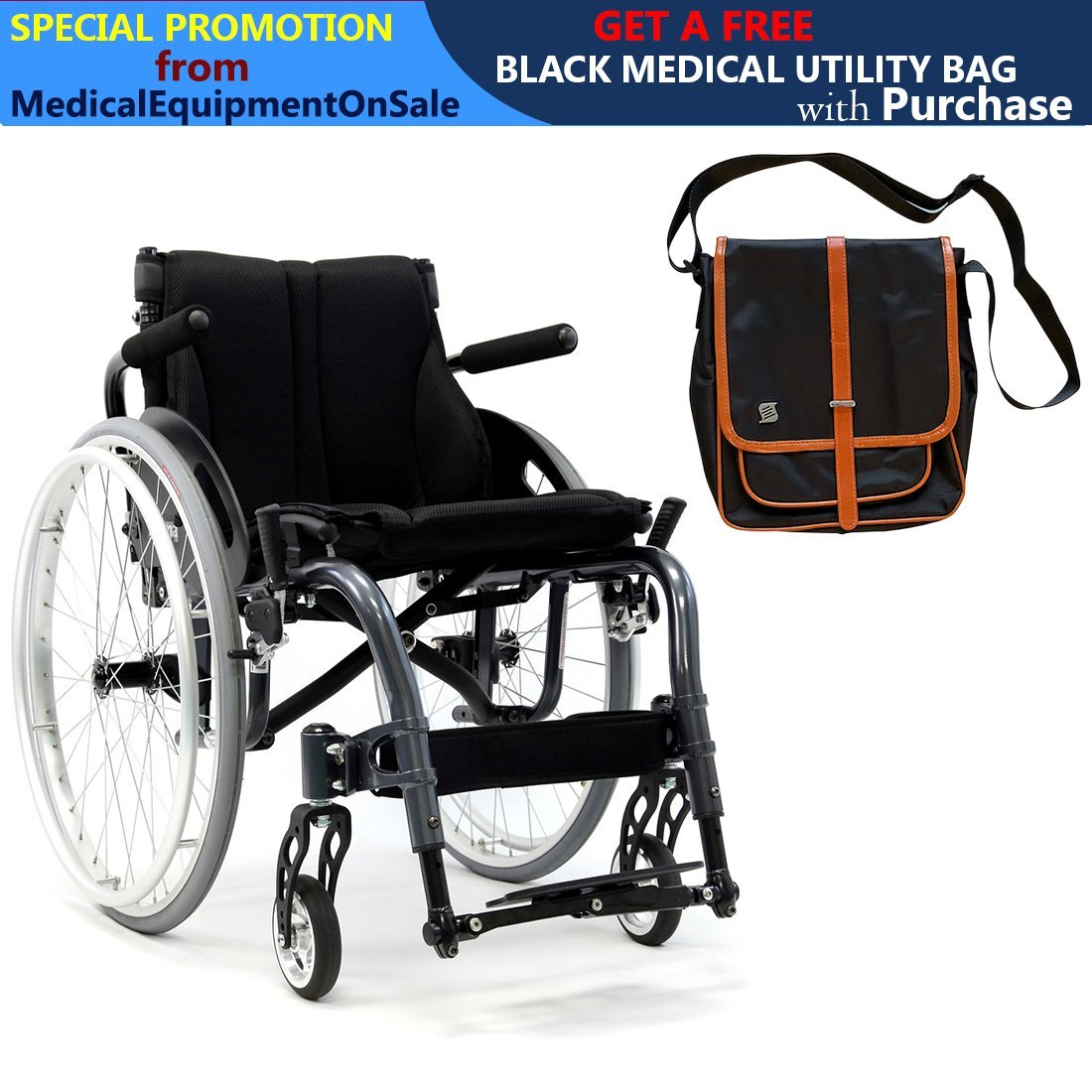 Karman S-Ergo ATX Ultralightweight Active Wheelchair | S-Shape Seat Size 16'' X 18'' | Seat Height Adjustable | Color Diamond Black & Free Black Medical Utility Bag with Trim!