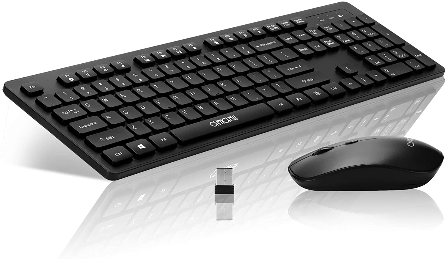 Wireless USB Keyboard Mouse Combo 2.4GHz CHONCHOW W2601 with Multimedia Key Business Standare Cordless Portable Keyboard and Mice Compatible with Windows Mac MacBook Air Computer Office(Black,Quiet)