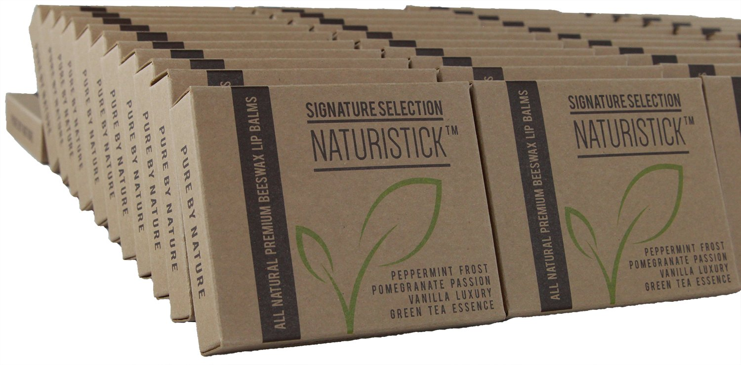 48 All-Natural Lip Balm Gift Sets in Bulk by Naturistick, Best Healing Chapstick for Dry, Chapped Lips for Men, Women and Kids, (4 Lip Balms and a Free Holder in Each Gift Set), Made in USA