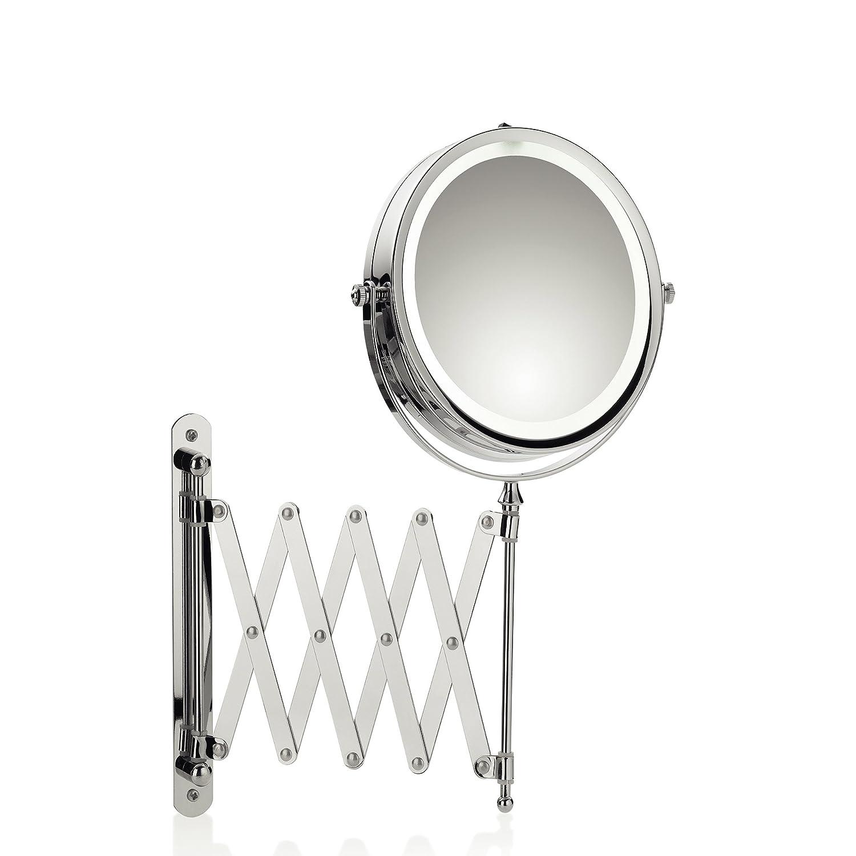 Kela Wand-Kosmetik-Spiegel, Valeria, LED-Beleuchtung, Ausziehbar, 1- 5-fach Vergrößerung, Zum Verschrauben, Ø 14 cm, Verchromtes Metall, 20643
