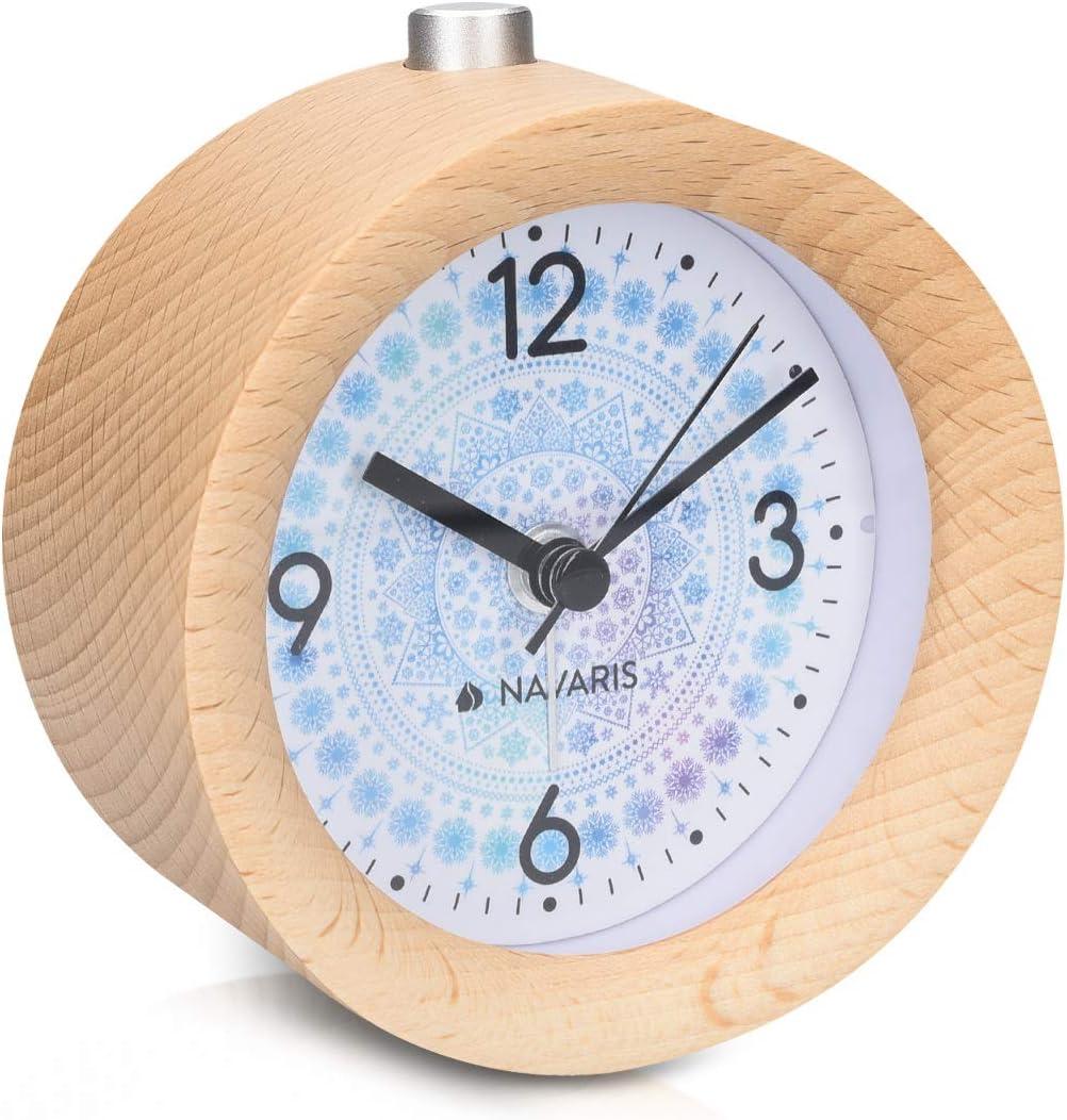 Navaris Wood Analog Alarm Clock