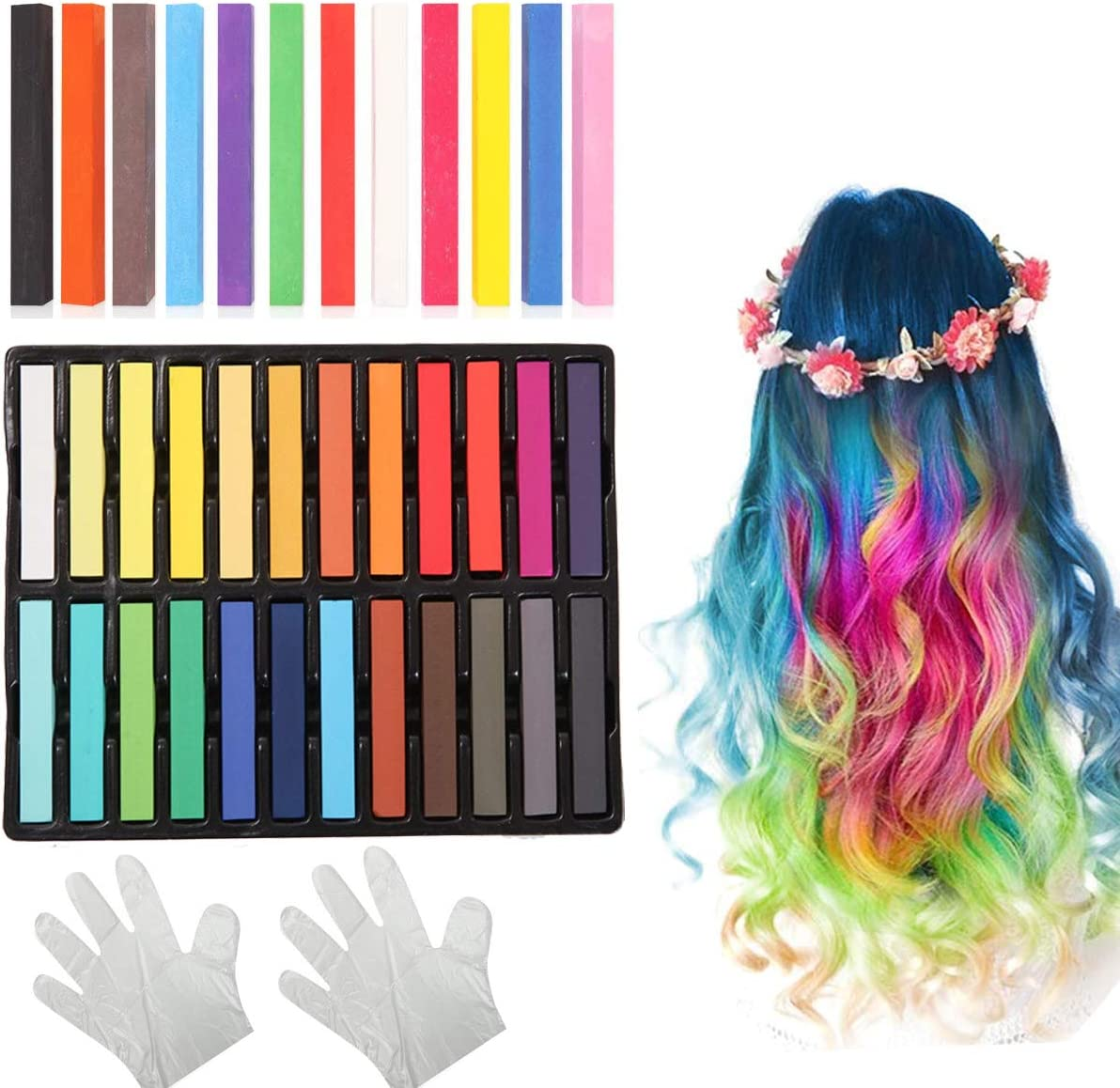 Dancepandas Tiza de Pelo Color Temporal del Pelo 2 Juegos Coloración Temporal Cabello No Tóxicas Lavables Hair Chalk Set para niñas y niños Pelo ...