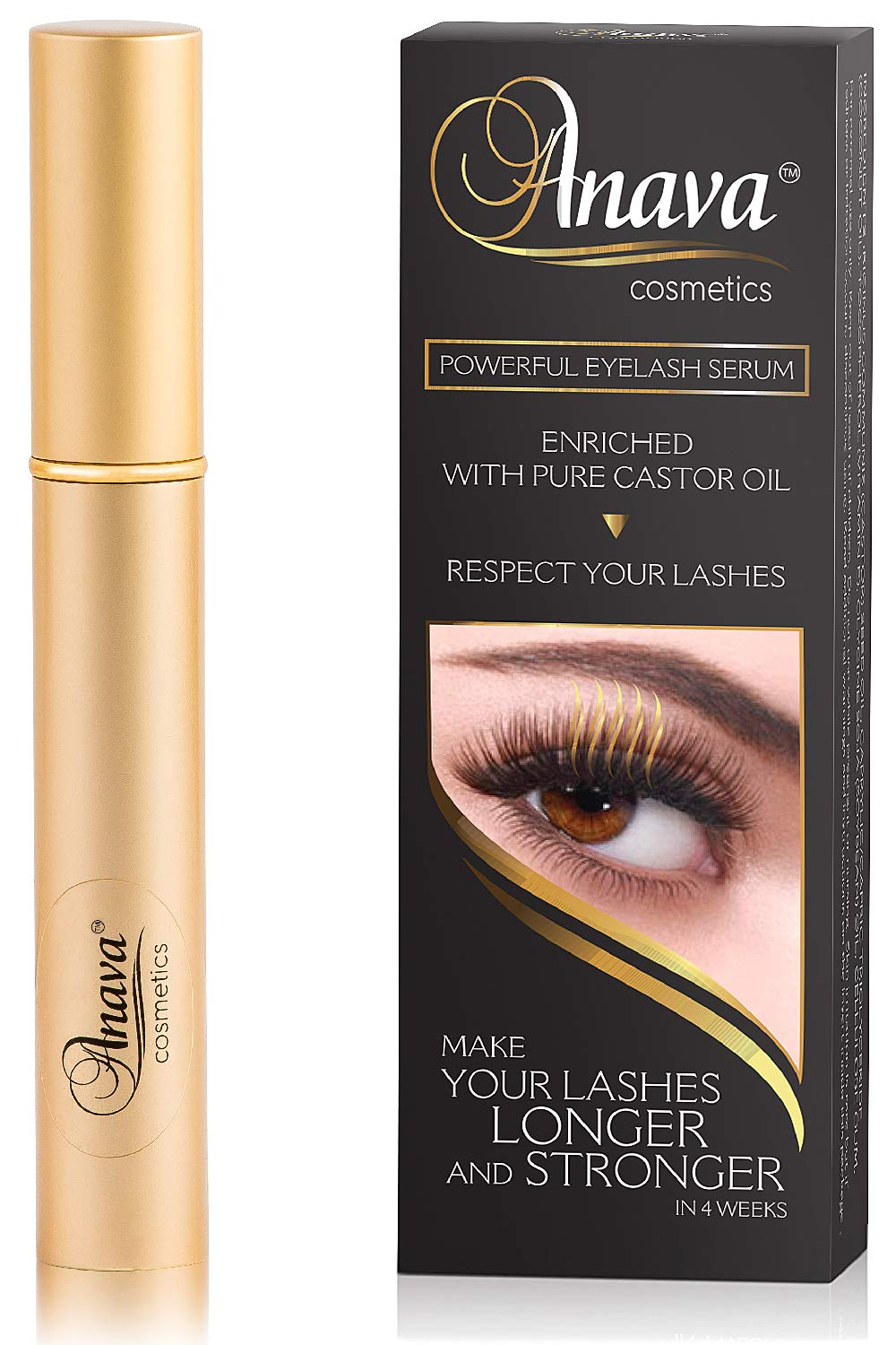 Anava Eyelash Growth Serum (6-Months Supply) All Natural Enhancing Treatment for Falling, Thinning Lashes, Nourishing & Thickening Conditioner - Healthy, Thick, Long & Strong Lashes in 4-8 Weeks
