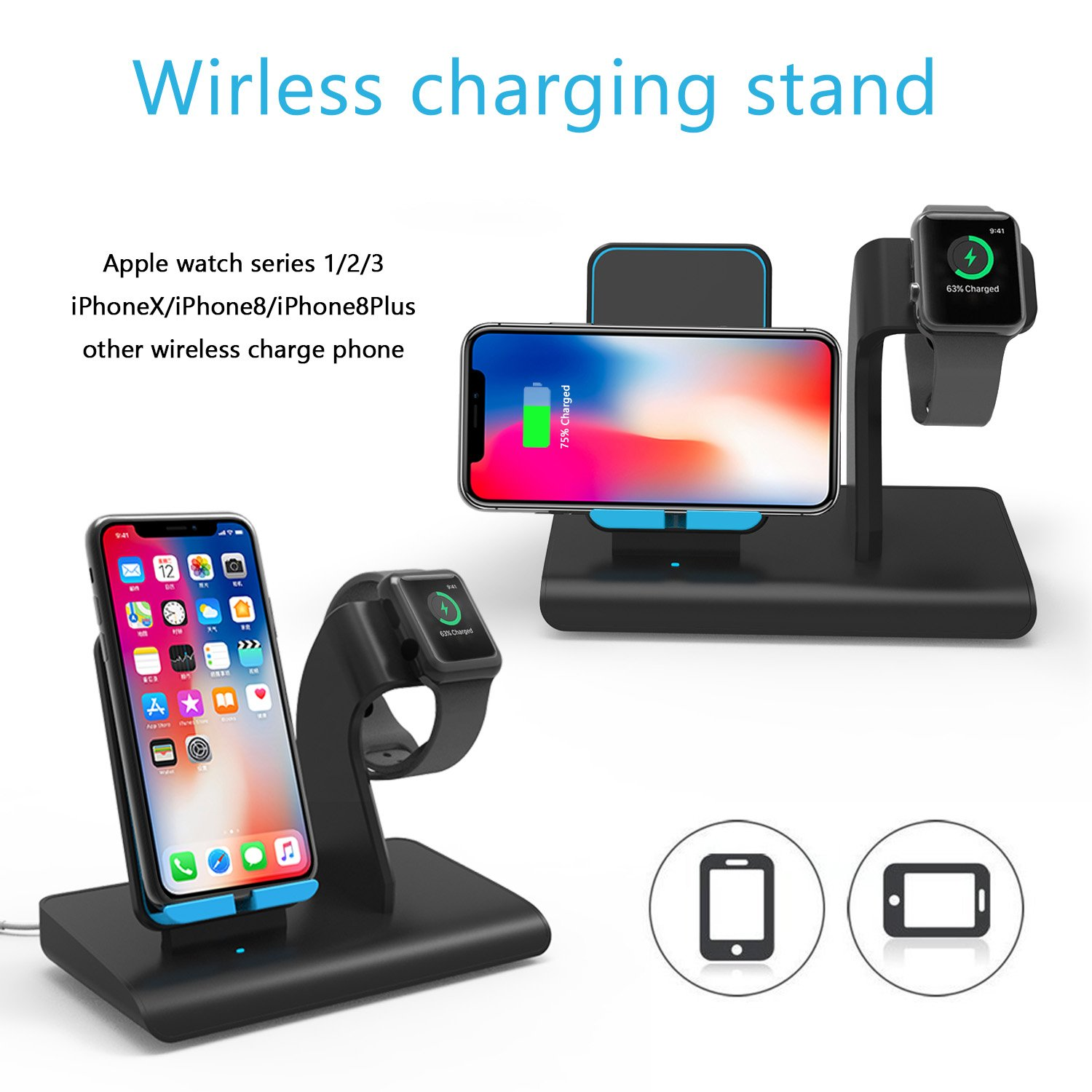 Charger Stand For Apple Watch Wireless Charging Dock Iphone X Station Holder Support Xs Max Xr 8 Plus Samsung Galaxy S9