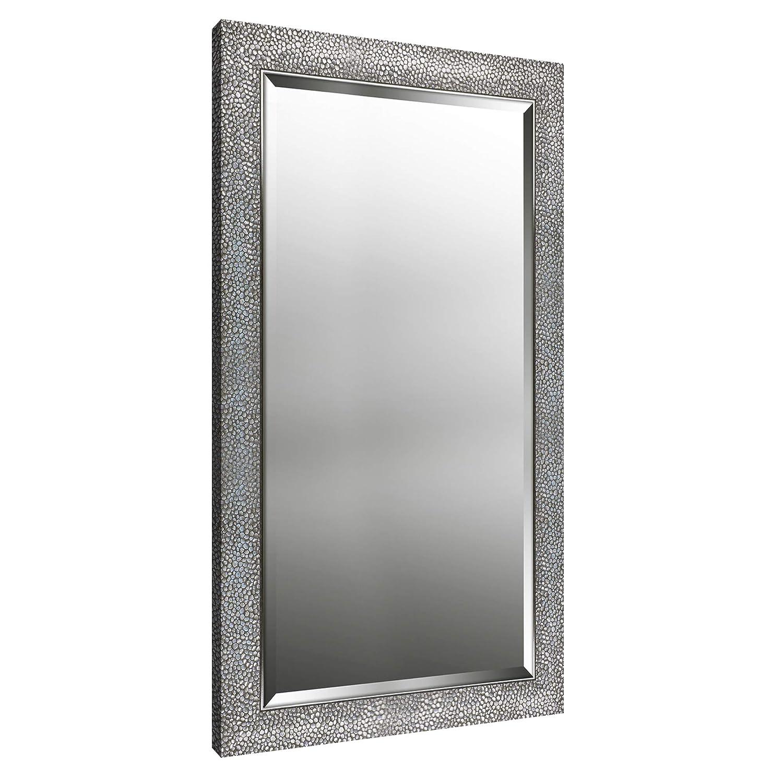Mirrorize Canada Hexagon Pattern Silver Finish Beveled Wall Mirror Bedroom Vanity,Hallway,Bathroom 25.25X41.25|BronzeSilver| Rectangle| Large Bevelled Mirror