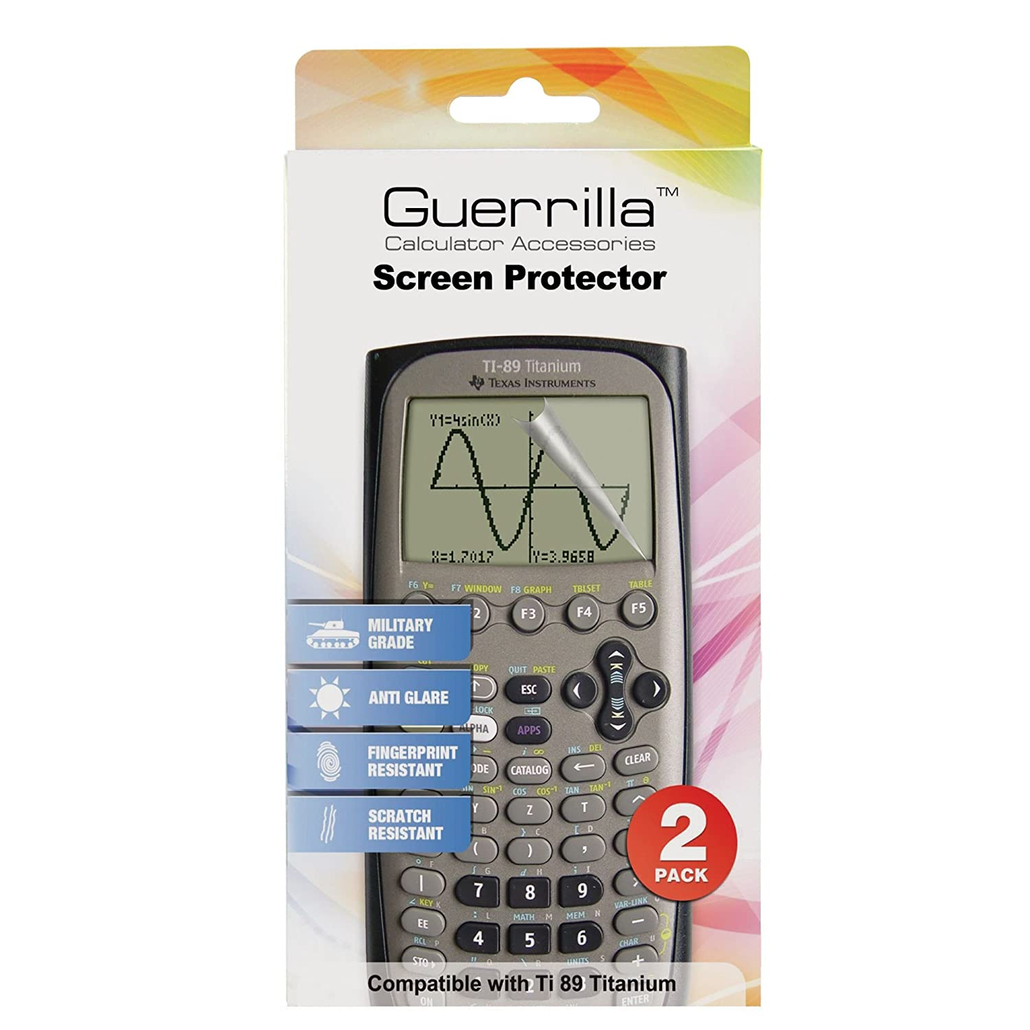 Guerrilla Military Grade Screen Protector 2-Pack For Texas Instruments TI 89 Titanium Graphing Calculator BHRS Group TI89SP