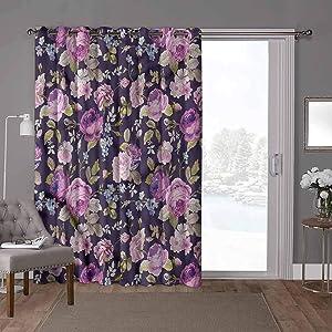 YUAZHOQI Split Room Divider Curtains, Shabby Chic,French Garden Pattern, W52 x L84 Inch Sliding Glass Door Panel for Oversleep(1 Panel)
