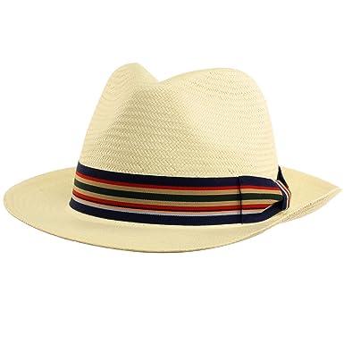 d21a0f25bcc Men s Summer Straw Wide Stiff Panama Fedora Sun Hat Fancy Hatband Ivory S M  56cm