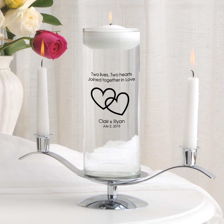 Personalized Floating Wedding Unity Candle Set - Includes Stand - Personalized Wedding Candle - Monogrammed Floating Wedding Unity Candle - Two Lives Two Hearts