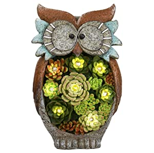 Garden Statue Owl Figurine - Resin Outdoor Statue with Solar Powered LED Lights for Patio Yard Decorations Lawn Ornaments, Fall Decor for Halloween, 10.5 x 6 Inch, Housewarming Gift