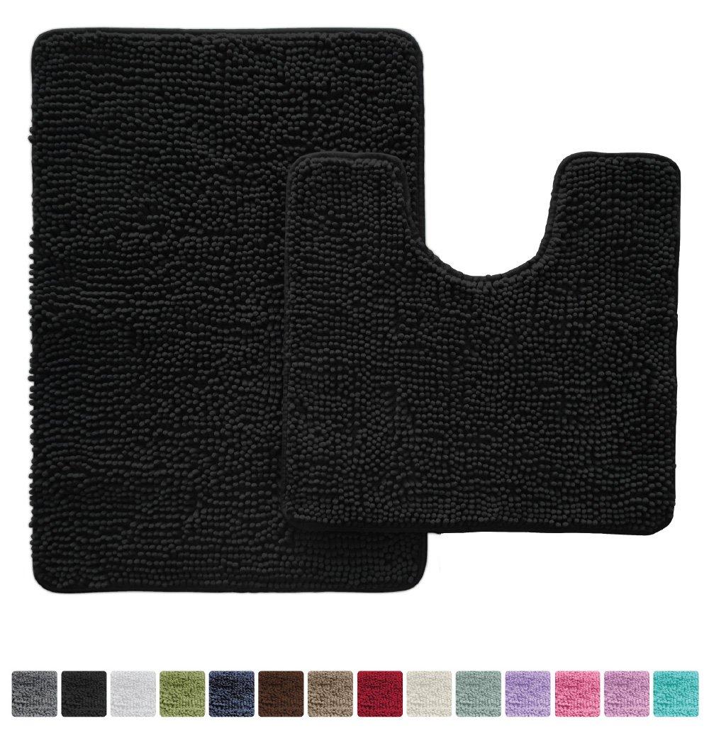 Gorilla Grip Original Shaggy Chenille Bathroom 2 Piece Rug Set Includes Mat Contoured for Toilet and 30x20 Carpet Rugs, Machine Wash/Dry, Perfect Plush Mats for Tub, Shower, Bath Room (Black)