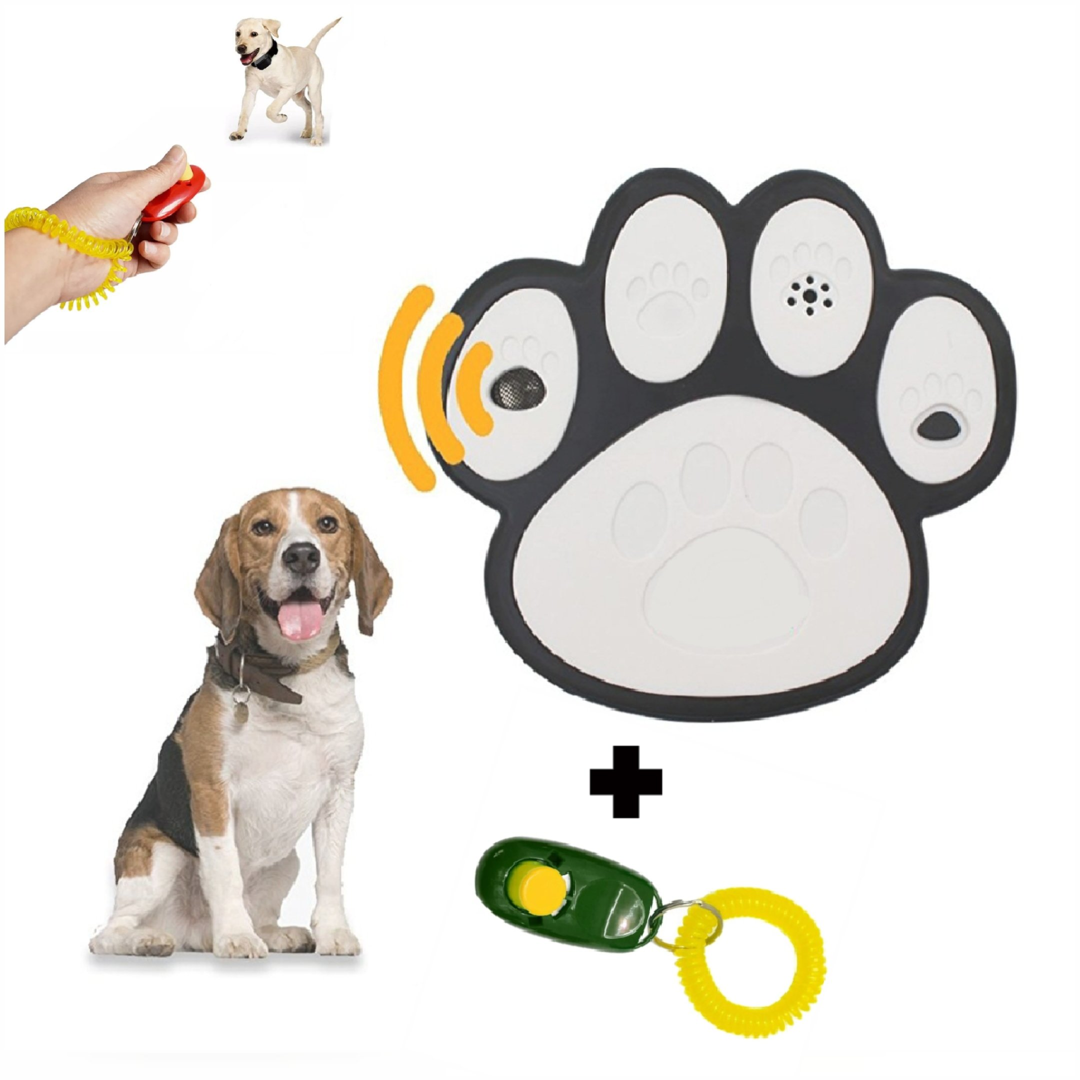 CoLnyC (Newest Model) Ultrasonic Paw Shaped Mini Outdoor Anti Barking Deterrent | No Bark | Stop Dog | Sonic Devices | Training Device With Free Clicker Dog