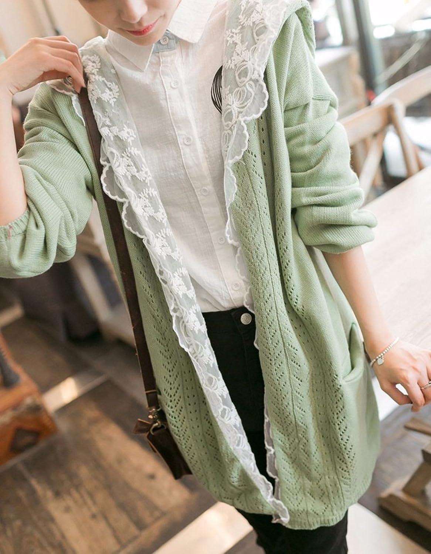 hqclothingbox Women Kawaii Harajuku Japanese Casual Lace Layered Jacket Coat Knitted Lace Sweater Cardigan