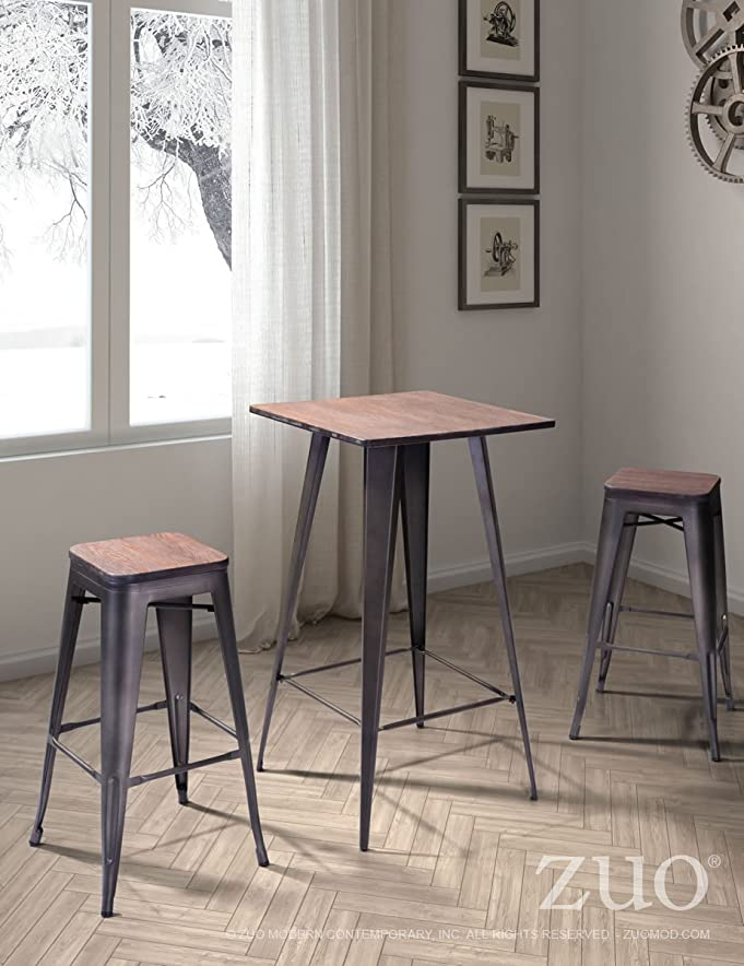 Amazon Zuo Titus Bamboo And Steel Bar Table Kitchen Dining