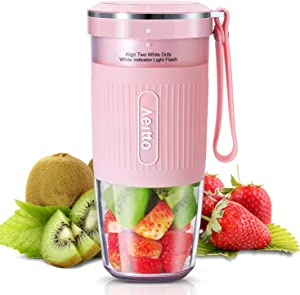 Portable Blender, Cordless Personal Blender Juicer, Mini Mixer, Smoothies Maker Fruit Blender Bottle Cup With USB Rechargeable, BPA Free, 10oz,for Home, Office, Sports, Travel, Outdoors, by Aeito