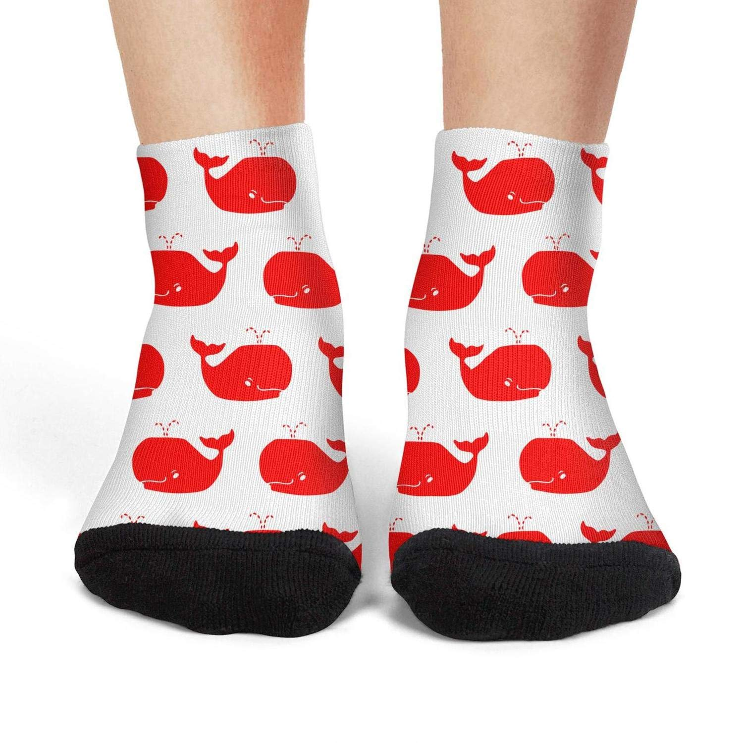 Mens low cut athletic Ankle sock red and white whales whale repeat Non-Slip Short Sock