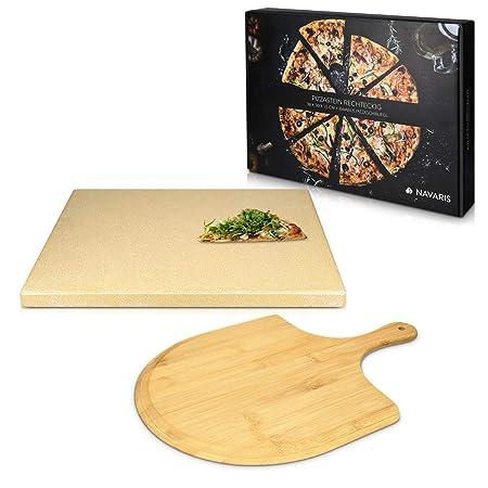 Navaris Set de piedra y pala para pizza - Piedra para horno de ...