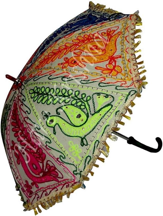61 x 71 Cm Hare Krishna Indian Handmade Embroidery Peacock Designer Gifts Sun Shade Folding Parasol Women Umbrella Multi Color