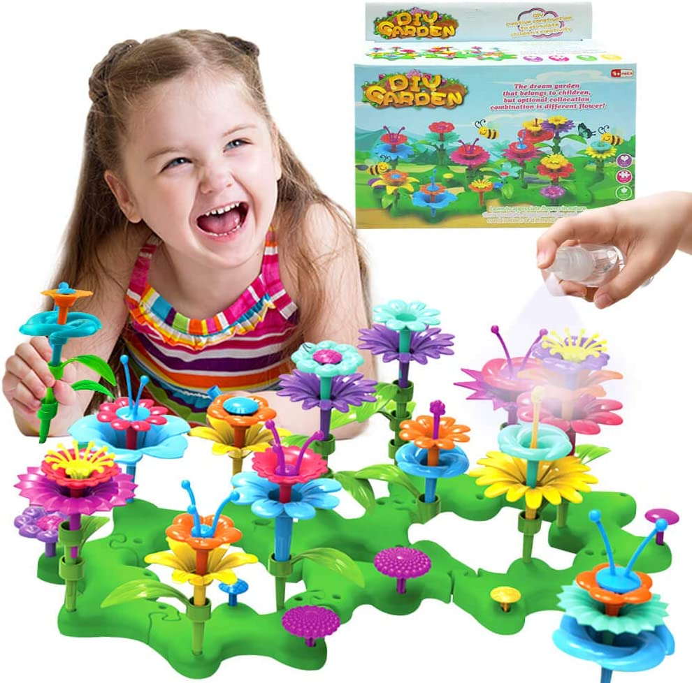 siicaaG Flower Garden Building Toys - Gardening Pretend Gift for Girls Kids STEM Toy - Educational Activity for Preschool Children Age 3 4 5 6 Year Old - Stacking Game for Toddlers Playset
