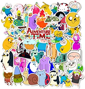 Cartoon Adventure Time Laptop Stickers - Decals Vinyl Waterproof for Water Bottle Cars Motorcycle Bicycle Bumper Skateboard Luggage Phone Case DIY Decoration Gift 50 pcs [No-Duplicate]