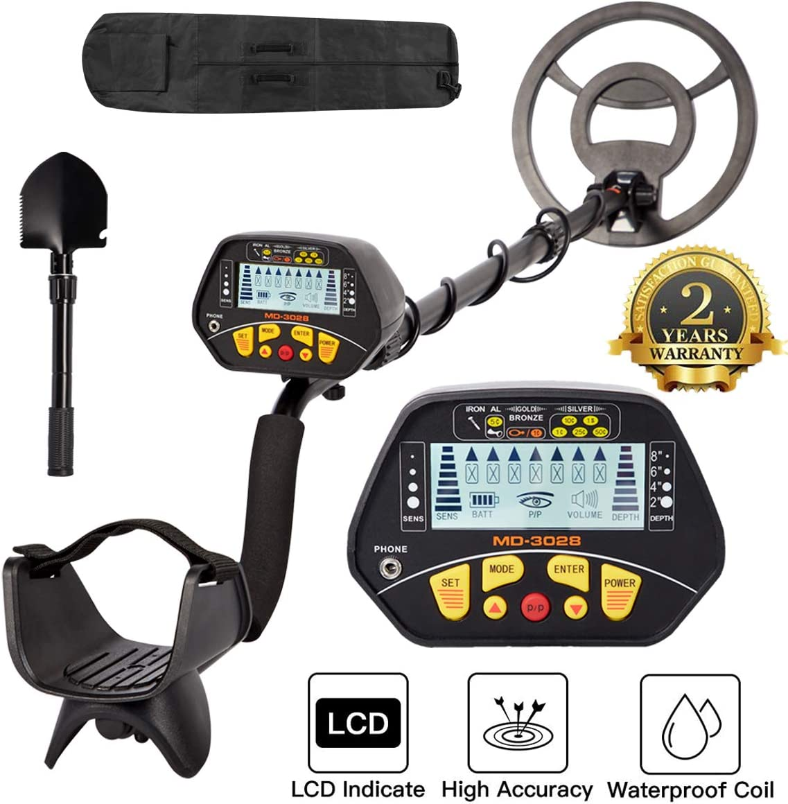 Dnyker Metal Detector High Accuracy Adjustable Waterproof LCD Display Gold Metal Detector