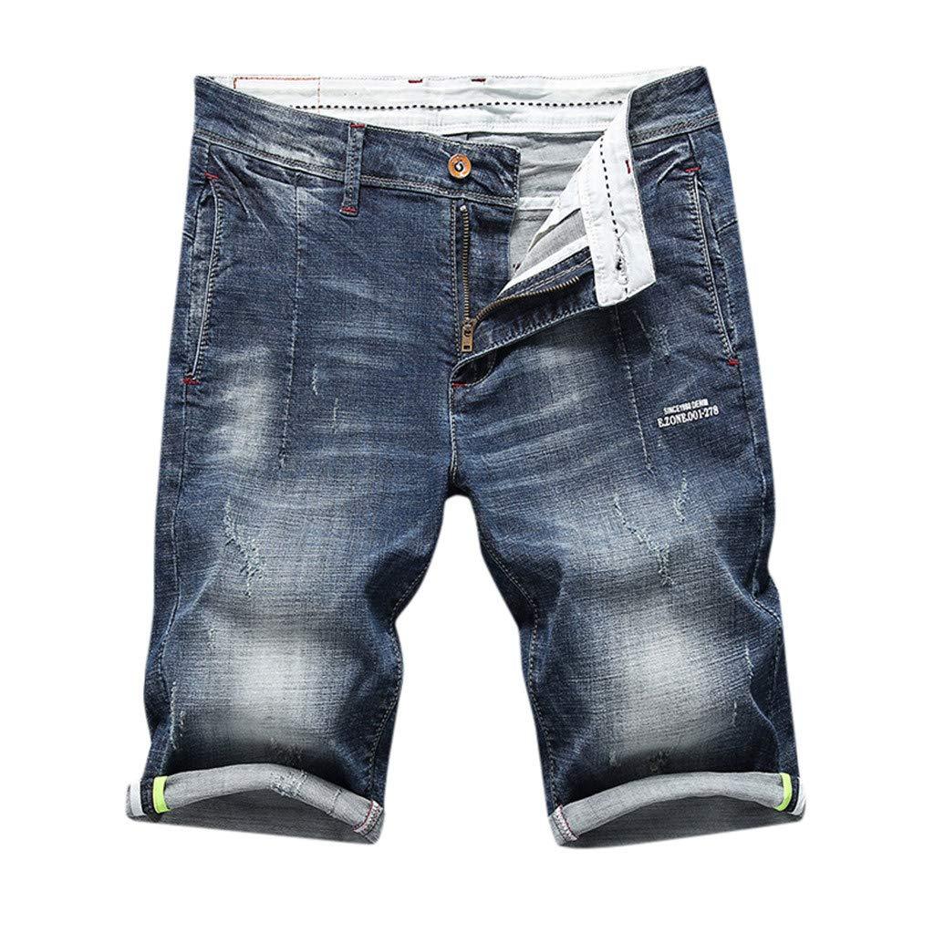Pantalones Cortos Vaquero Hombre Bermudas Cargo Mezclilla De Casuales Verano Elástico Cómodo Jeans Retro Shorts ZOELOVE Denim Casual Sport Negro Recto ...