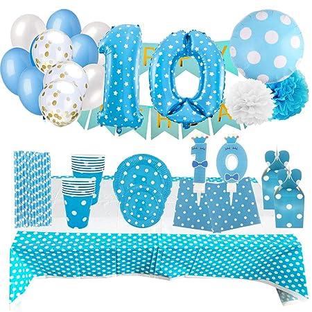 Set de Artículos Accesorios Completo para Decoración Fiestas Cumpleaños Bebé Lote Sirve 16 Invitados (Niño de 10 años)