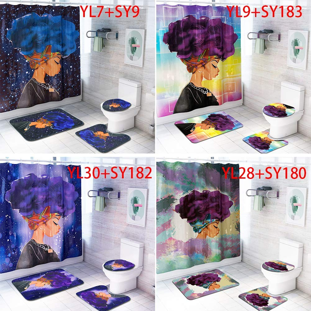 szdc88 4Pcs//Set Practical Toilet Pad Shower Curtain Set,African Explosion Head Women Home Bath Mat Flannel Waterproof Shower Curtain Bathroom Mat