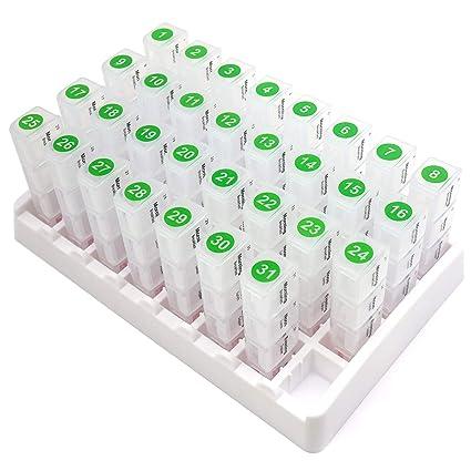 PuTwo Pastillero 31 días 4 Veces al Día Dispensador de Medicamentos Mensual Pastillero Organizador Plástico con