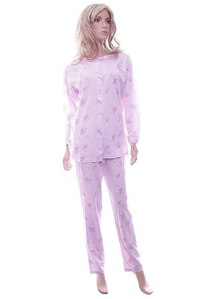 Para mujer de color rosa Waites pijama para PJ de cama de algodón lencería L y