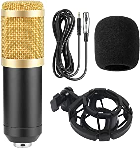 NaTursou Condenser Microphone BM900 Professional Cardioid Mic Bundle for Pc/Laptop Recording Studio YouTube Podcast Vocal Broadcasting Gaming with Shock Mount and Anti-Wind Foam Cap