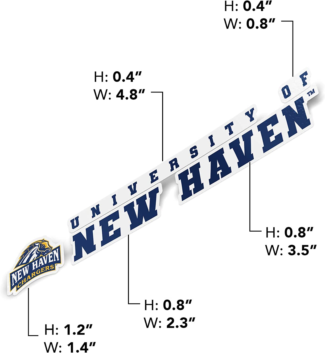 University of New Haven UNH Chargers NCAA Name Logo Vinyl Decal Laptop Water Bottle Car Scrapbook 8 Inch Sticker