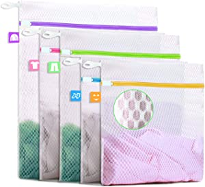 Btromeshy Mesh Laundry Bag,Set of 5 Lingerie Wash Bags with Colored Tags and Upgraded Hook Loop Zipper Protector Easy to Assort and Protect Your Coats,Pants,Shirt,Socks,Bra and Underwear-3 Sizes