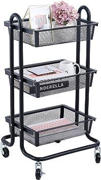 Black DESIGNA 3-Tier Metal Mesh Rolling Storage Cart with Utility Handle