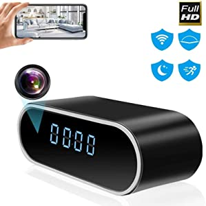 MSTEKI WiFi Hidden Spy Camera Alarm Clock HD 1080P Security Cam Motion Detection Alerts Night Version Wireless Real Time Monitor for Home Security and Baby Monitoring Video Only