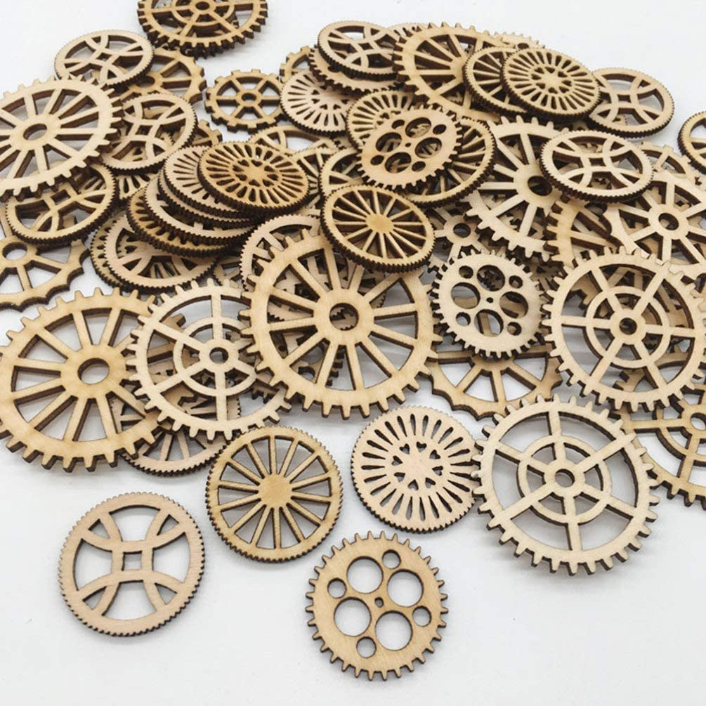 Amosfun 50pcs Laser Cut Wood Embellishment Hollow Out Wooden Gear Shape Wood Discs Unfinished Wood Cutout for Arts Crafts DIY Decoration