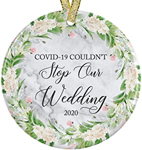 "Covid Coudn't Stop Our Wedding We Got Married During A Pandemic Est. 2020 COVID 19 Marble Look Ceramic Round Ornament, Mr and Mrs 3"" Flat Circle with Metallic Gold Ribbon + Free Gift Box"