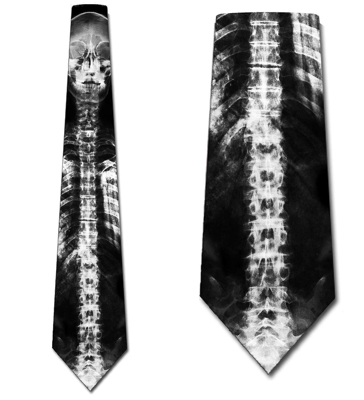 Skeleton Ties Mens X-Ray Skull Spine Neck Tie by Three Rooker