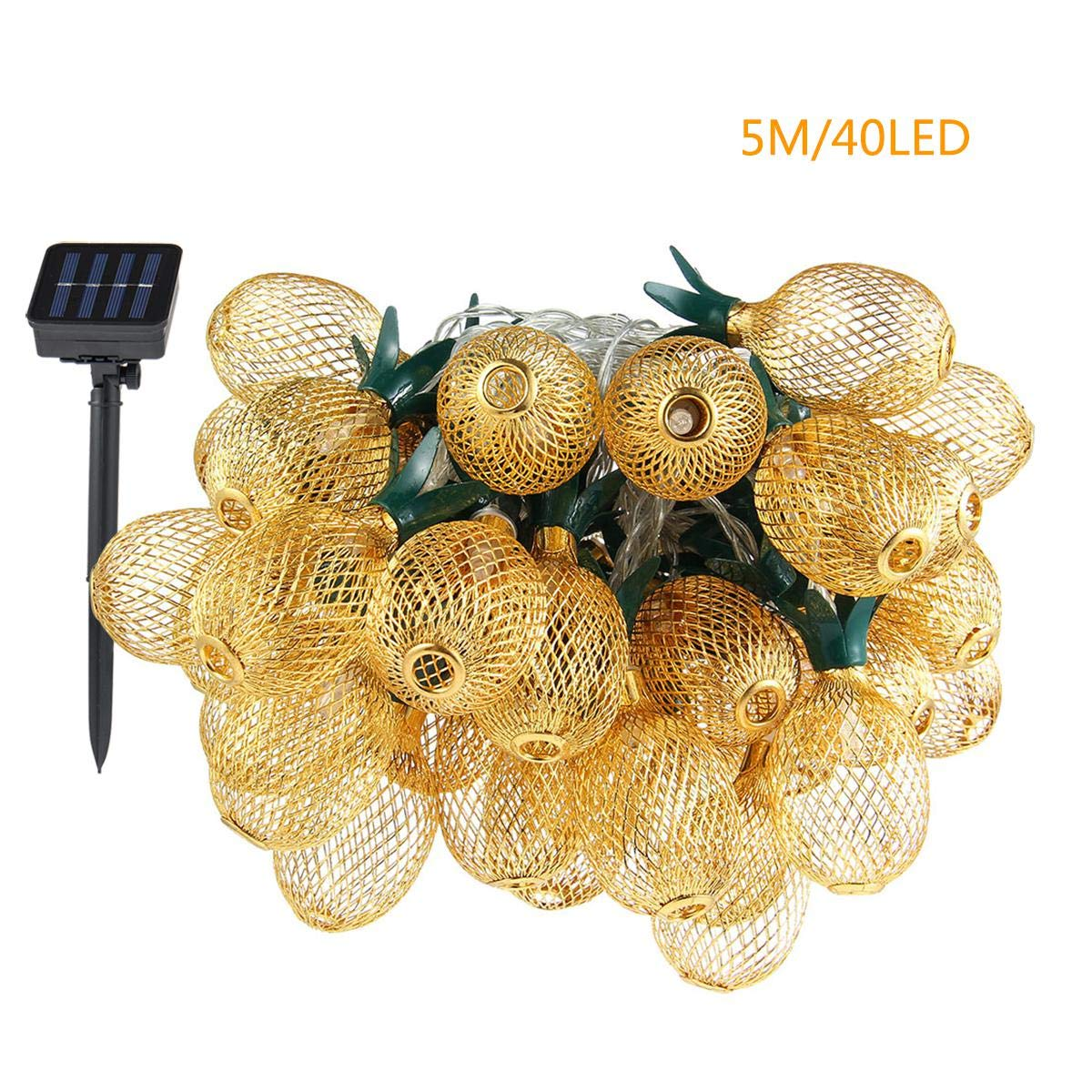 Pineapple String Lights, 200in/5m 40 LED Bulbs Waterproof Solar Charging Lantern String Lights with 2 Light Mode Fairy Lights for Wedding Garden Festival Party Halloween Christmas Indoor & Outdoor