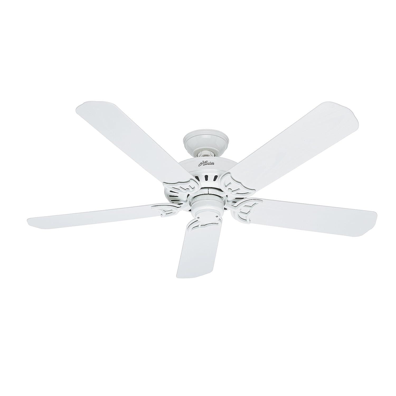 Hunter Fan 52 inch Damp Rated Outdoor Ceiling Fan in White, 5 Blade Renewed