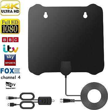 Antena TV Interior HDTV, Digital con Amplificador de Señal,Antena TNT de 120 Millas con Amplificador de y Cable Coaxial de 13.7 pies, Compatible con Canales Smart TV 1080P HD VHF/UHF/FM: Amazon.es: Electrónica