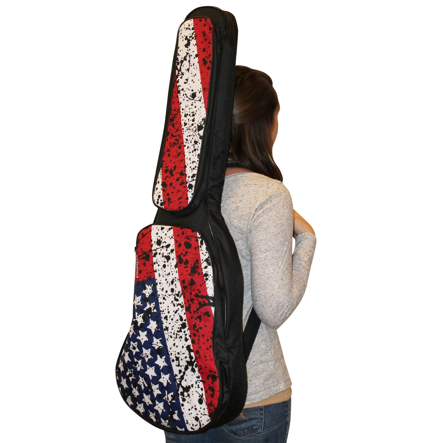 ChromaCast USA Flag Graphic Multi-Pocket Padded Electric Guitar Gig Bag with Guitar Strap & Pick Sampler
