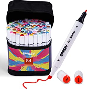 84-Pack Alcohol Markers with Storage Gift Box, Ink Made in Japan. SPREEY Double Tipped Sketch Markers for Beginners, Students and Hobby Artists for Sketching, Adult Coloring and Illustration