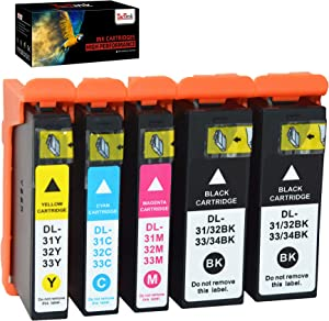 TacTink Compatible Dell V525w Printer Ink, 5 Pack Replacement for Dell Series 31 32 33 34 Ink Cartridges to use with Dell V525w V725w All-in-One Wireless Printer (2 Black, 1 Cyan, 1 Magenta, 1 Yellow)
