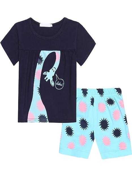 Bricnat Mädchen Schlafanzug Giraffe Drucken Nachtwäsche Baumwolle Kinder Frühling Sommer Bekleidung Pyjama Set Rosa Kurze Ärm