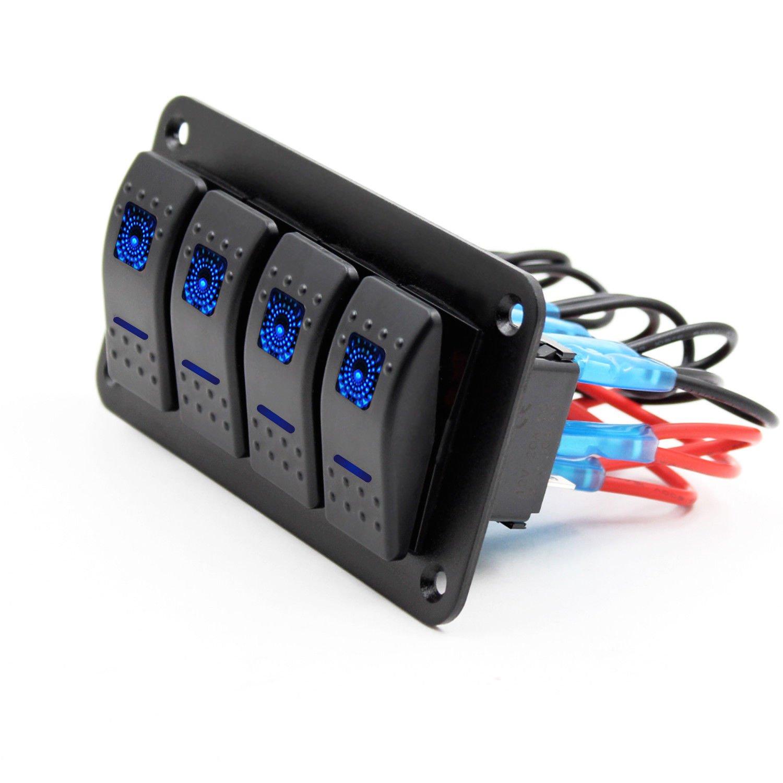 SODIAL 12V-24V 4 gang blu 2 LED luce interruttore a bilanciere pannello interruttore marino impermeabile