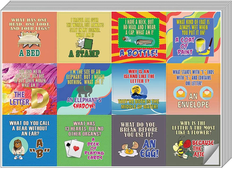 Creanoso Funny Riddle Jokes Stickers Great Stocking Stuffers Gifts for Men Kids Women Teens Unique and Cool Stickers Wall Art Decal Collection Surface D/écor Decal Giveaways 20-Sheets