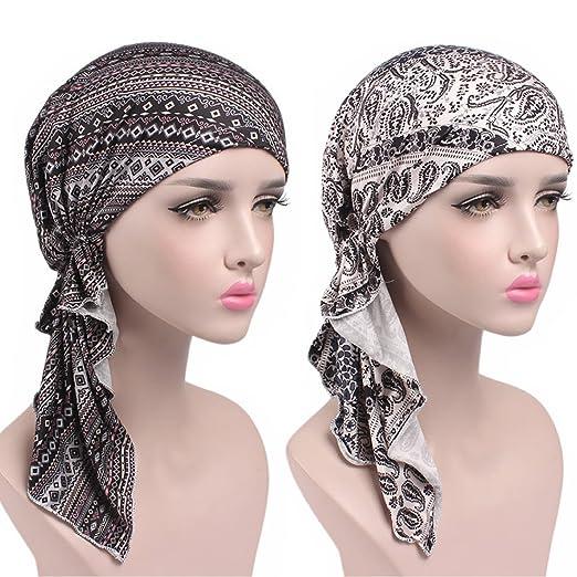 9c17786aec1 Womens Head Scarf Pre Tied Chemo Hat Beanie Sleep Turban Headwear for  Cancer (8+