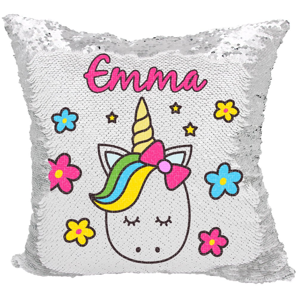 Unicorn Throw Pillow for Girls Personalized Reversible Sequin Pillow (White/Silver)