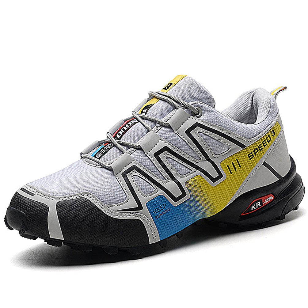Sherry Love Men's Outdoor Low-Top Mesh Water Resistant Trekking Hiking Shoes-Grey and Yellow-47EUR